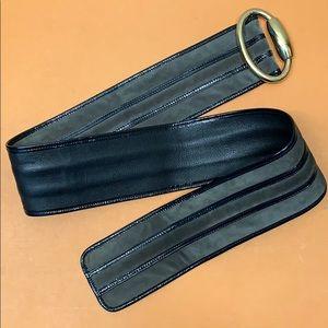 Gucci Accessories - Gucci Suede Patent Leather Wide Belt